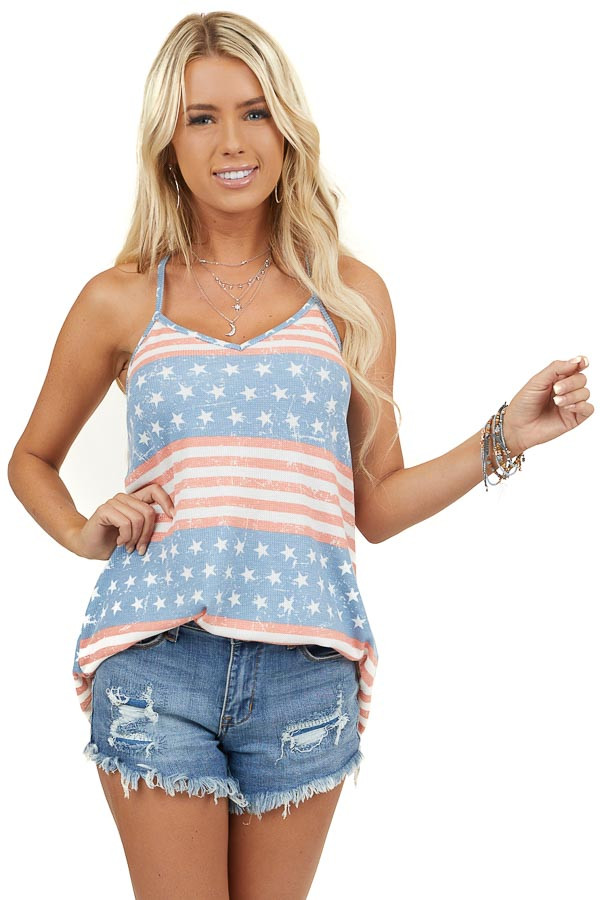 Powder Blue and Faded Red Striped Tank Top with Star Print