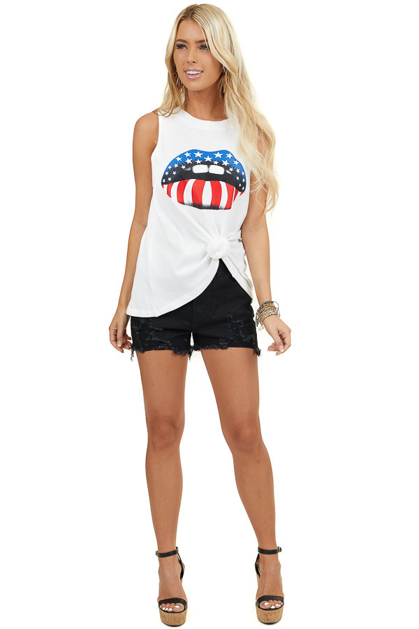 White Muscle Tank Top with Patriotic Lip Graphic