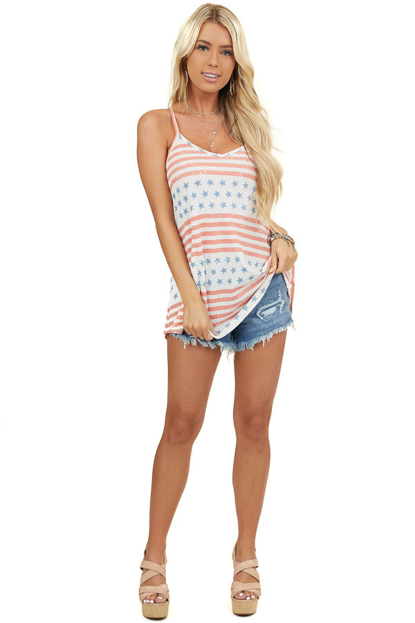 Off White and Faded Red Striped Tank Top with Star Print