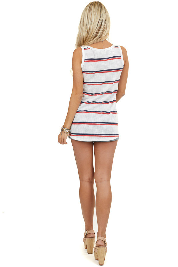 Off White Knit Tank Top with Stripes and Star Print