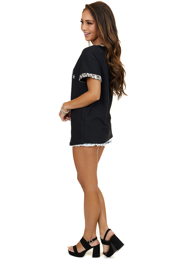 Black 'Rodeo' Graphic Tee Shirt with Leopard Print Contrast