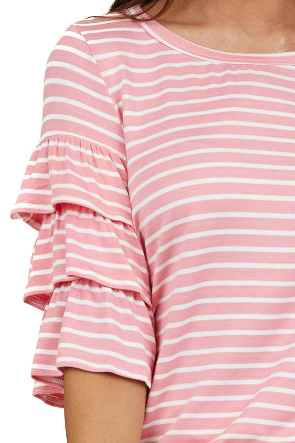 Pink and Ivory Striped Top with Short Tiered Ruffle Sleeves