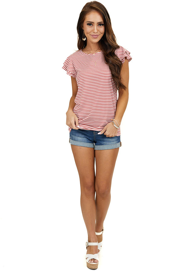 Faded Red Striped Print Knit Top with Short Ruffle Sleeves