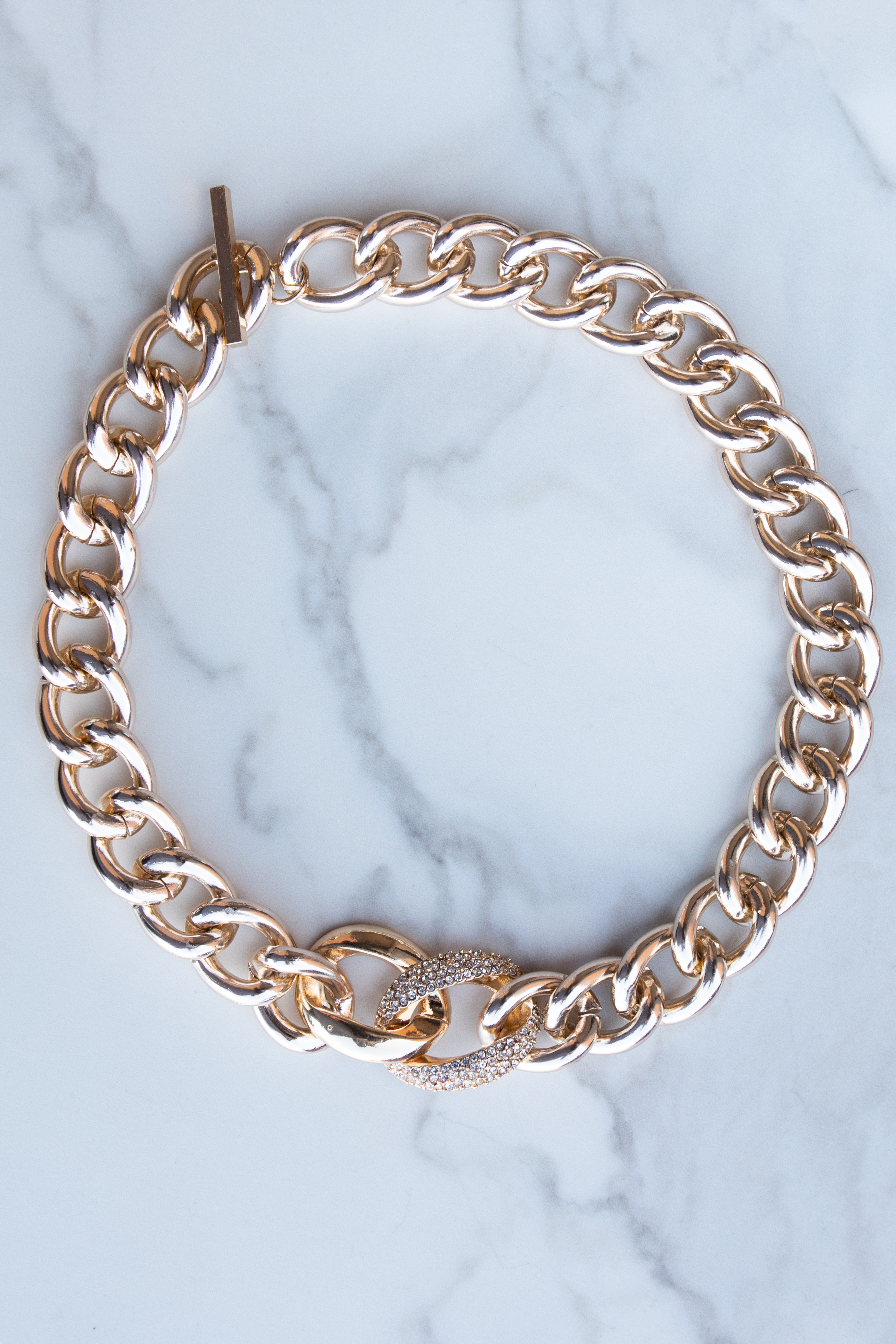 Gold Thick Chain Choker Necklace with Rhinestone Link Detail