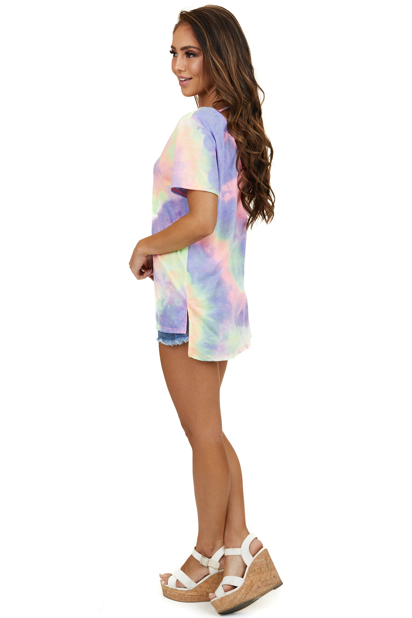 Purple Tie Dye Short Sleeve Knit Top with Caged Neckline