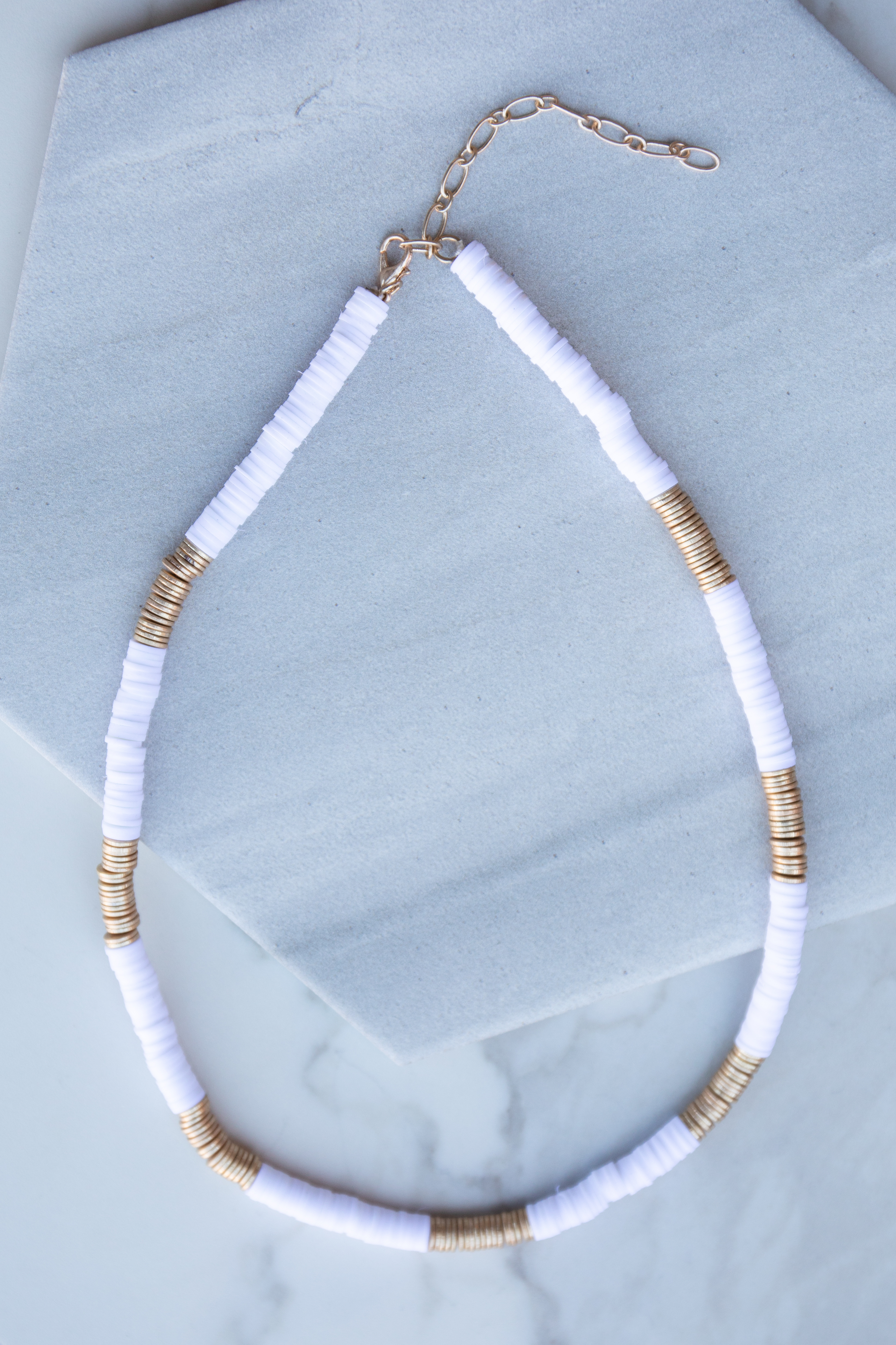 White Puka Shell Necklace with Gold Bead Contrast