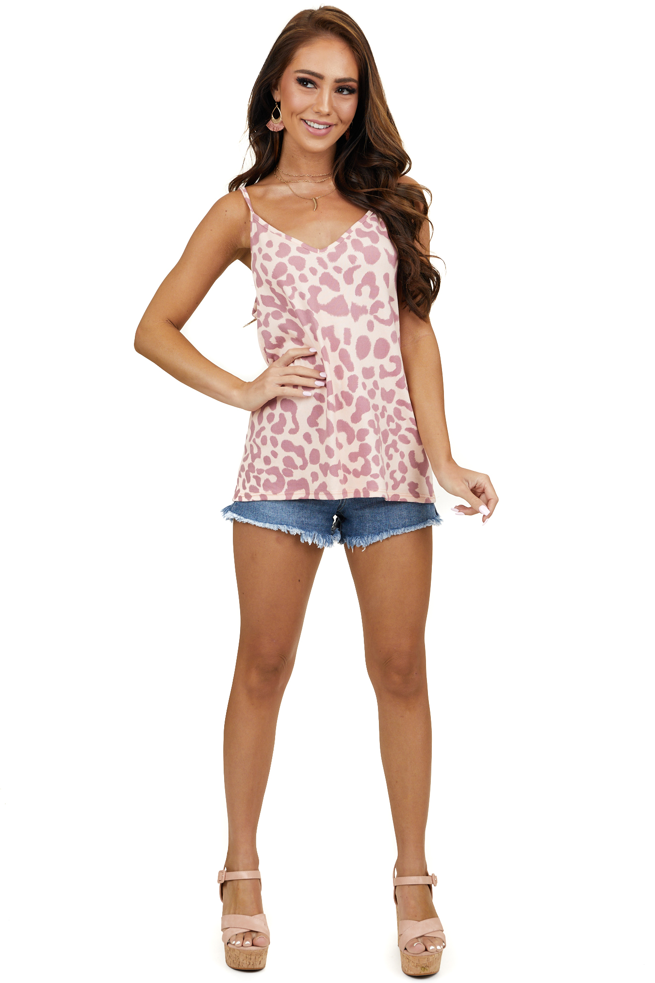 Peach and Mauve Leopard Print Tank Top with V Neckline