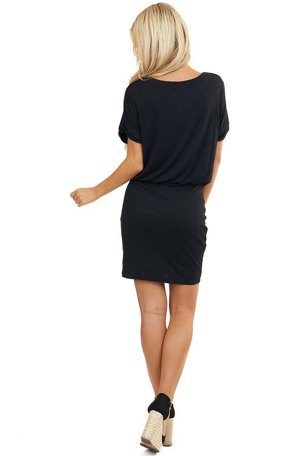 Black Elastic Waist Mini Dress with Fitted Skirt