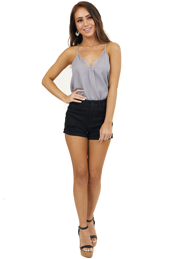 Dove Grey Woven Camisole Top with Eyelash Lace Details