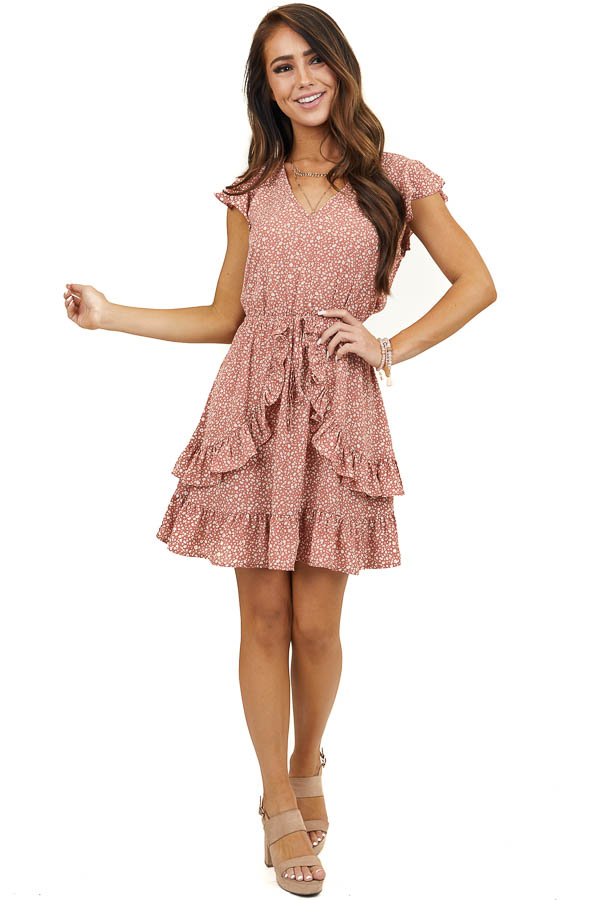 Dusty Mauve Printed Short Sleeve Dress with Ruffle Details