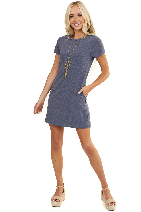 Stormy Blue Ribbed Short Sleeve Dress with Side Pockets