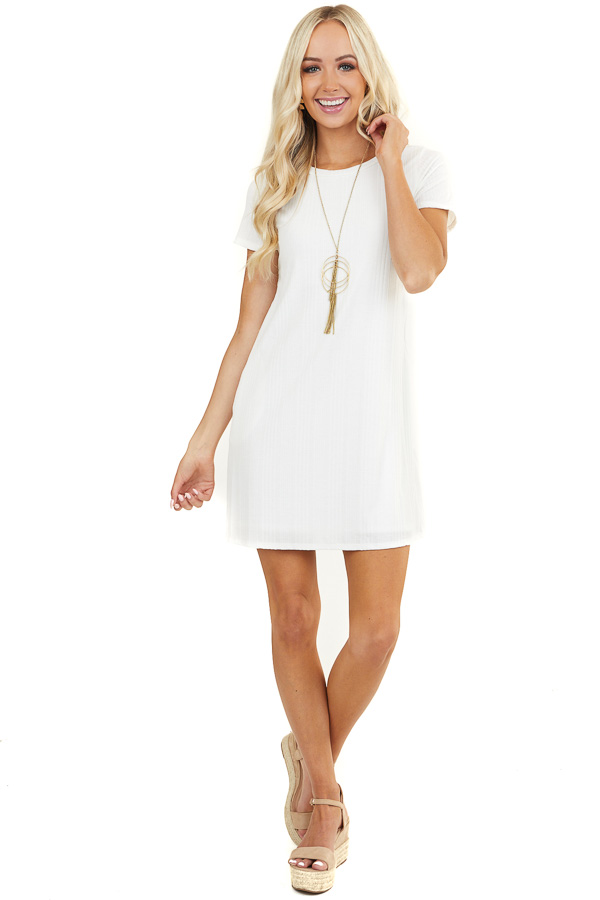 Off White Ribbed Short Sleeve Dress with Side Pockets