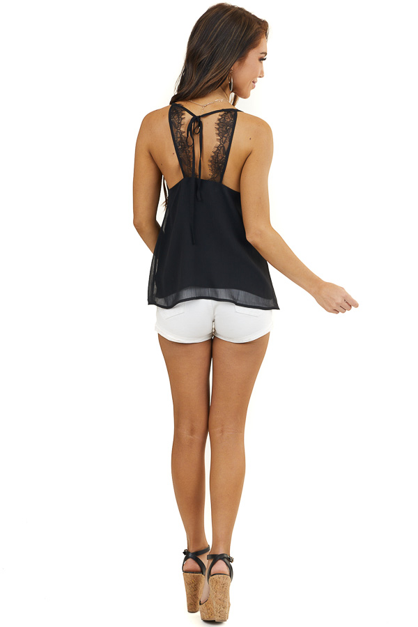 Black Woven Camisole Top with Eyelash Lace Details