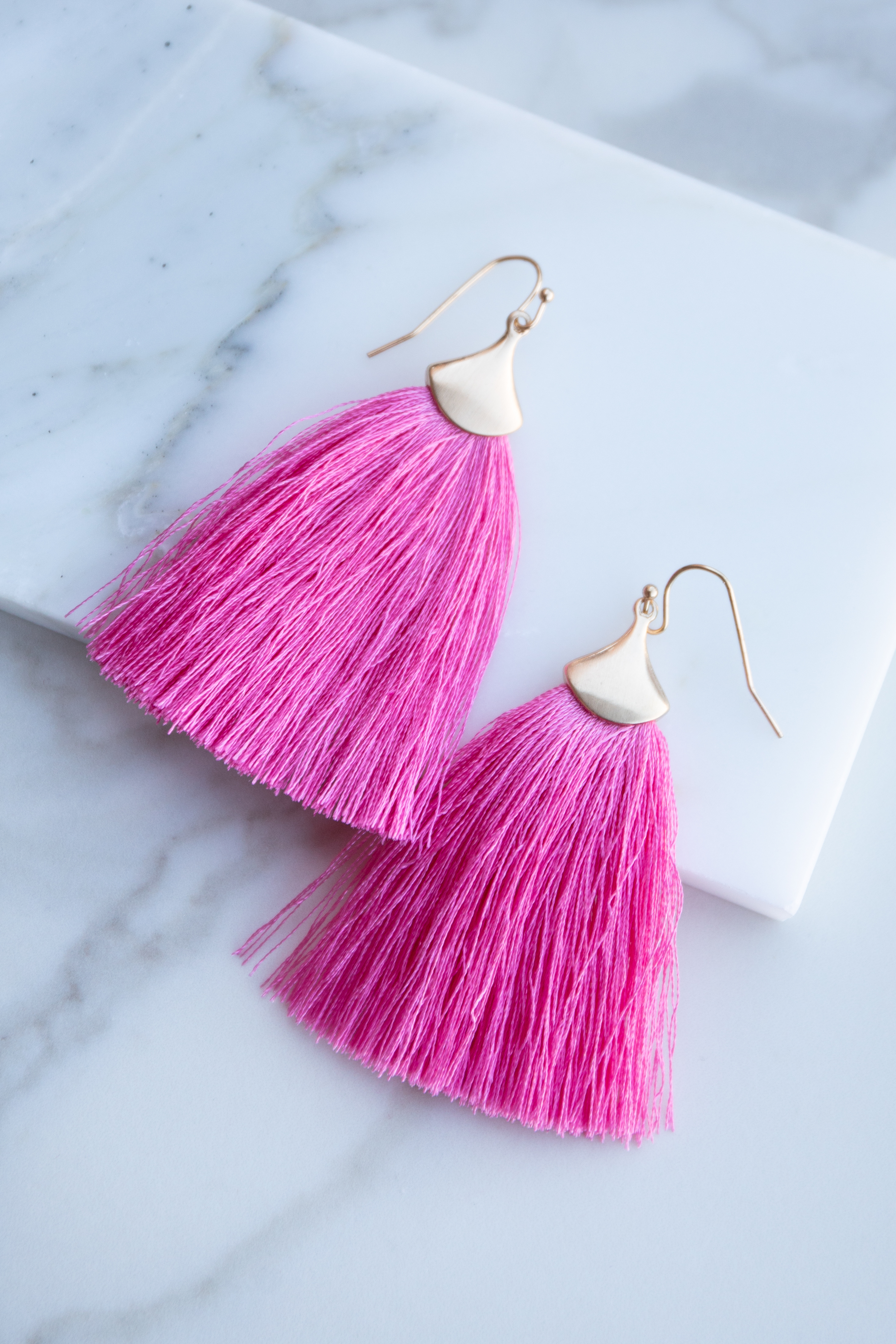 Brushed Gold Dangle Earrings with Bubblegum Pink Fringe