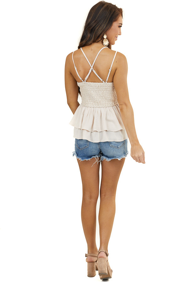 Light Beige Sleeveless Layered Babydoll Top with Lace Detail
