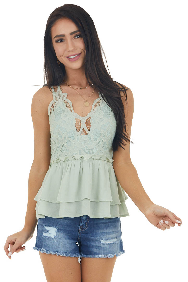 Sage Sleeveless Layered Babydoll Top with Lace Details