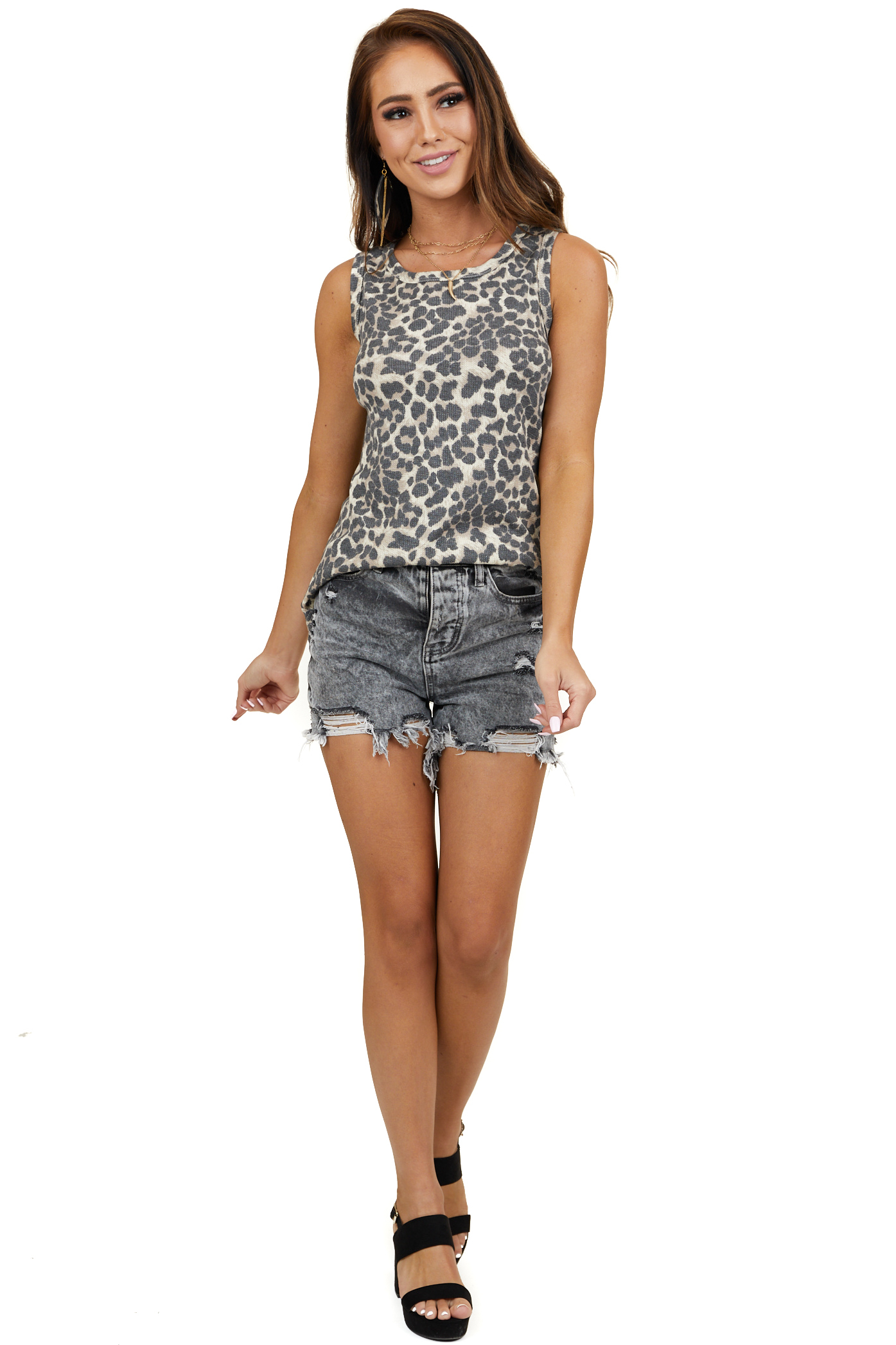 Latte and Beige Leopard Print Sleeveless Waffle Knit Top