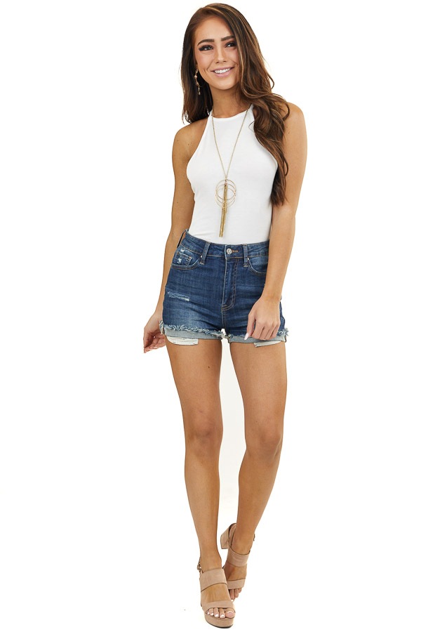 Off White High Neck Bodysuit with Criss Cross Back and Tie