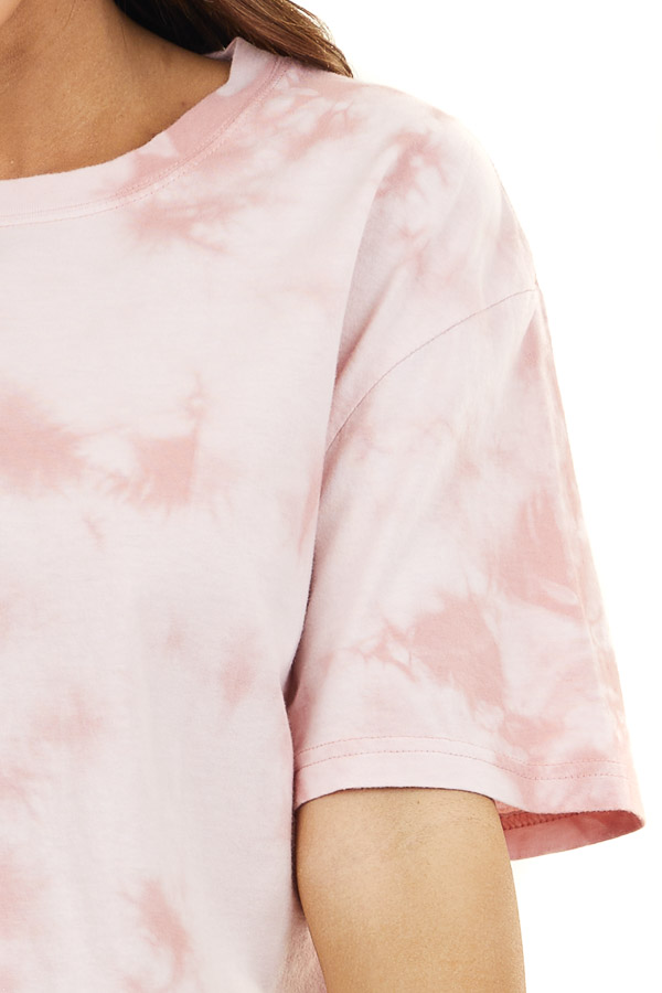 Mauve Tie Dye Short Sleeve Knit T Shirt Top