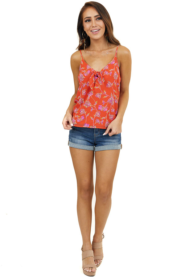 Tomato Red Floral Print Sleeveless Blouse with Tie Detail