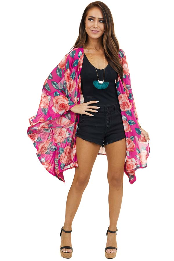 Fuchsia Floral Printed Lightweight Kimono with 3/4 Sleeves