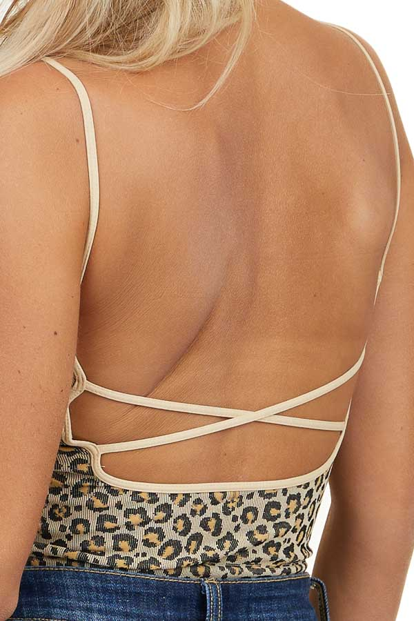 Beige and Black Leopard Print Crop Top with Spaghetti Straps
