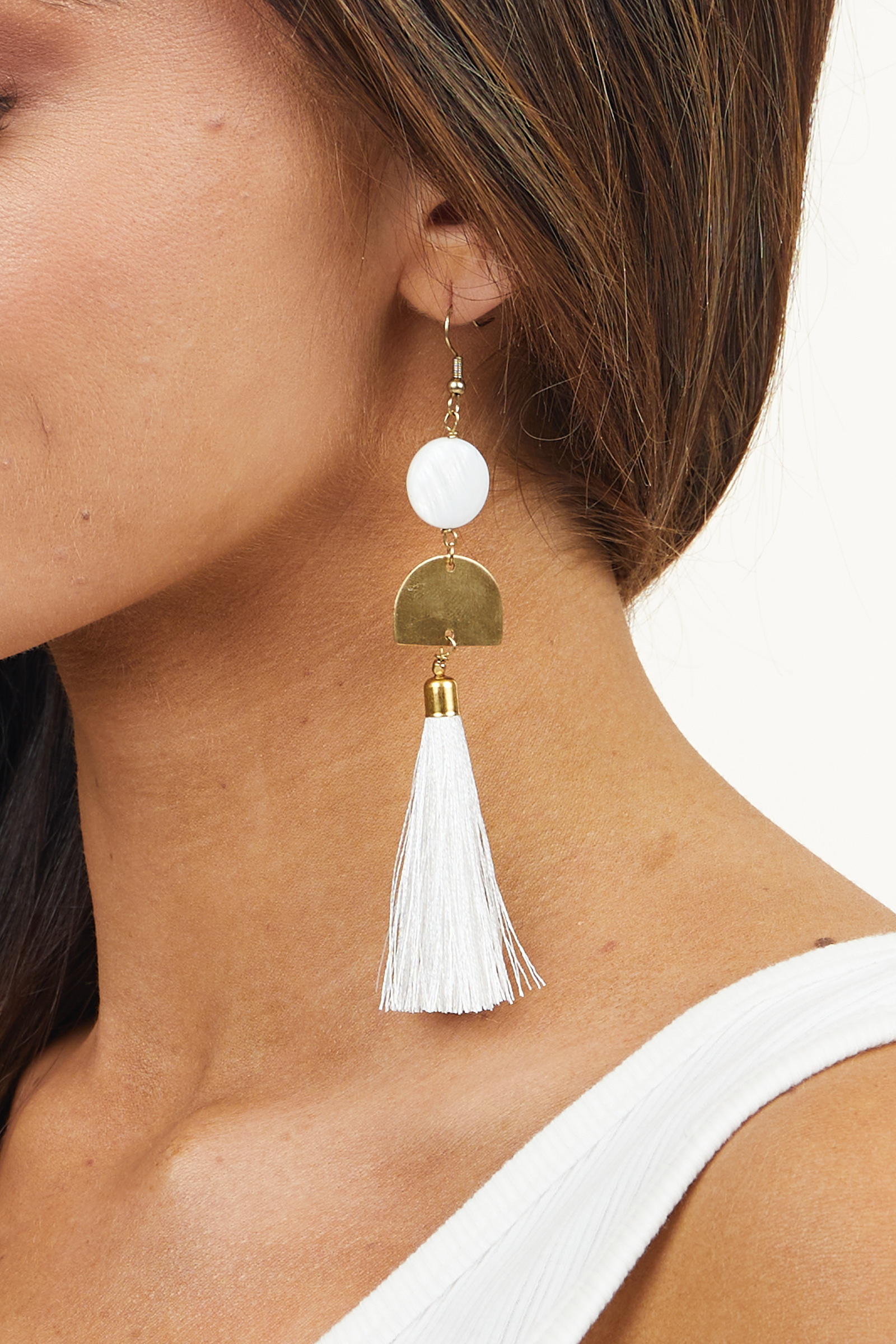 Gold and White Geometric Dangle Earrings with Tassel Detail