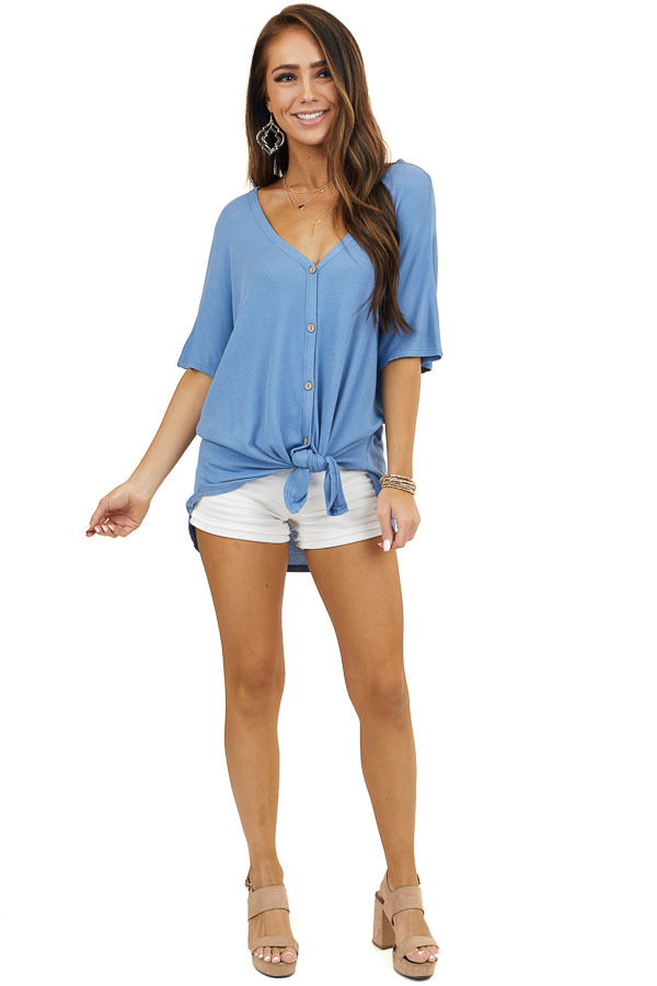 Dusty Blue Short Sleeve Waffle Knit Top with Button Up Front