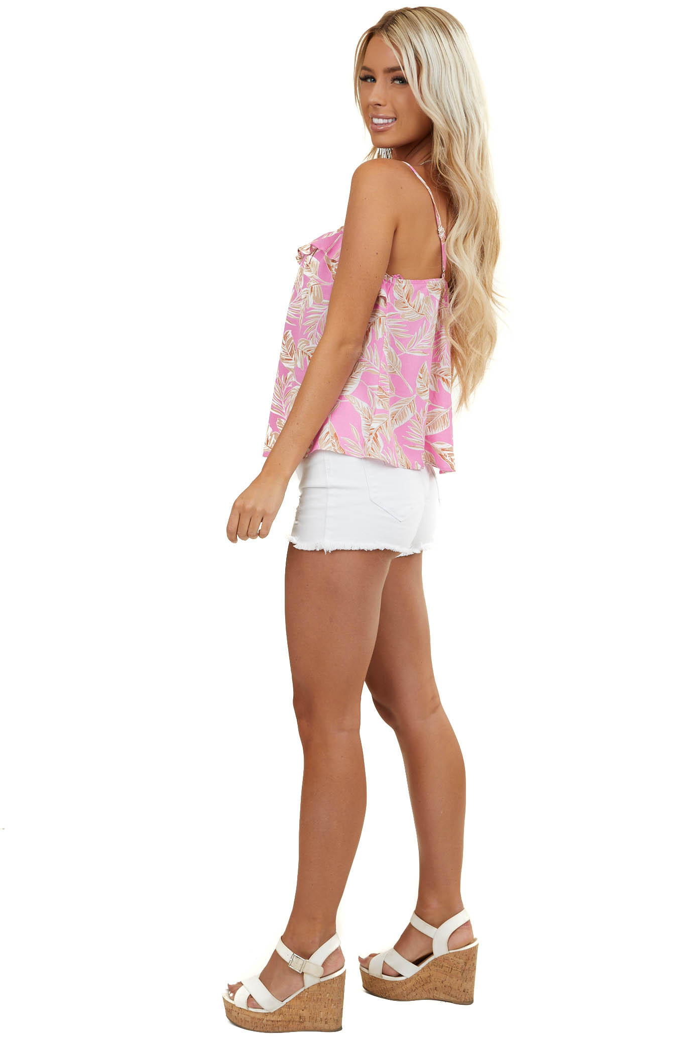 Baby Pink Tropical Print Button Up Sleeveless Ruffle Blouse