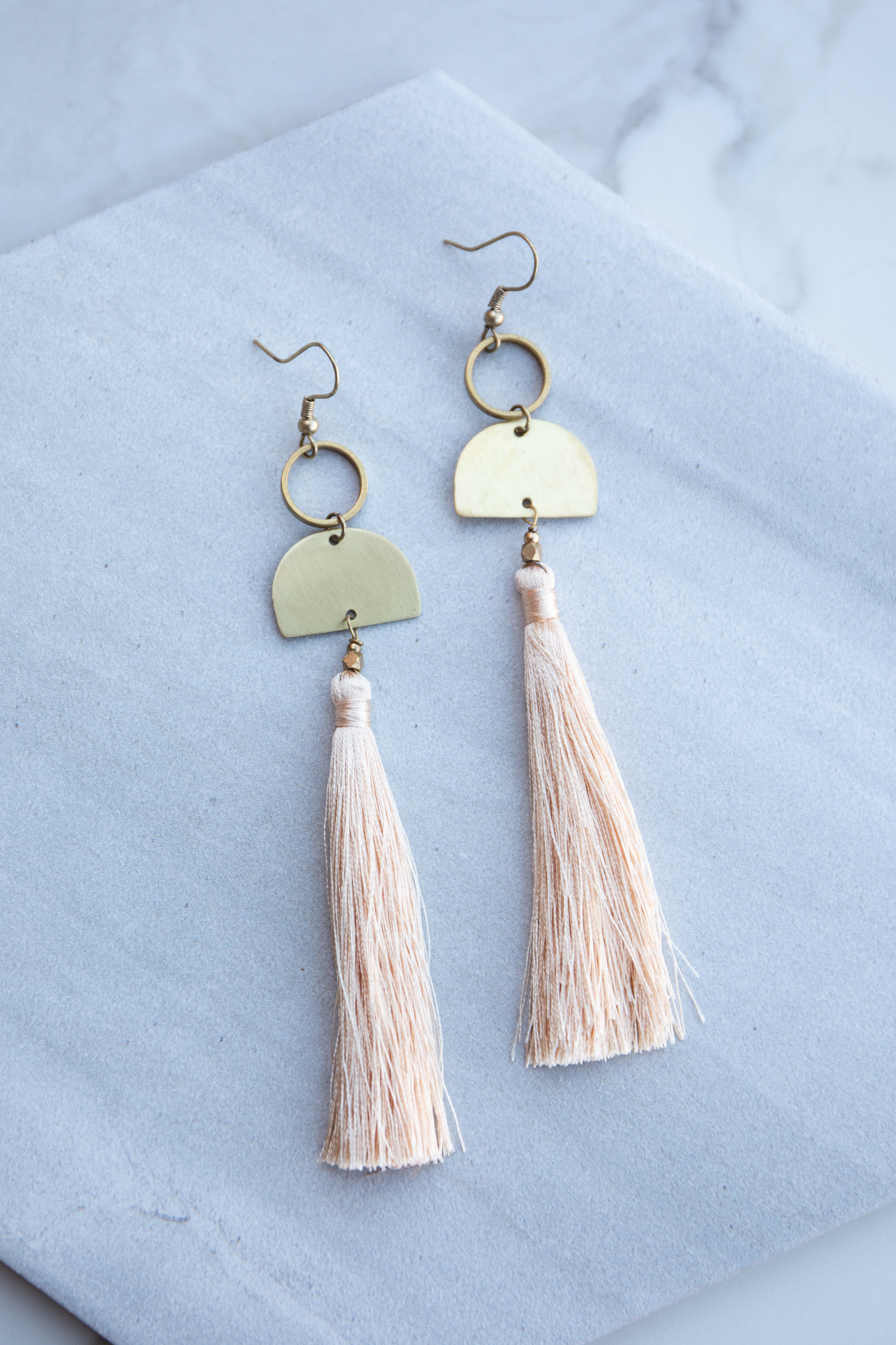 Gold Circle and Half Circle Dangle Earrings with Tassel