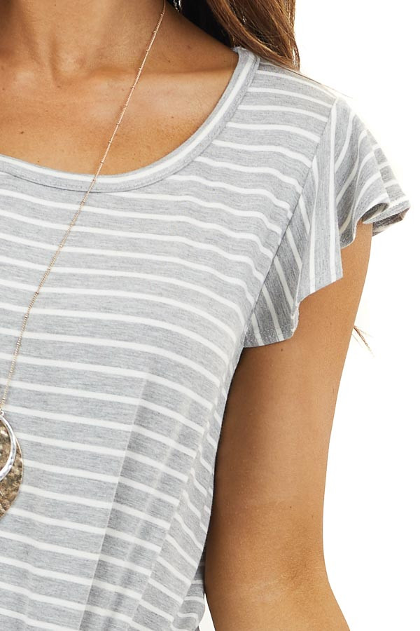 Heather Grey Striped Print Top with Ruffle Sleeves and Tie
