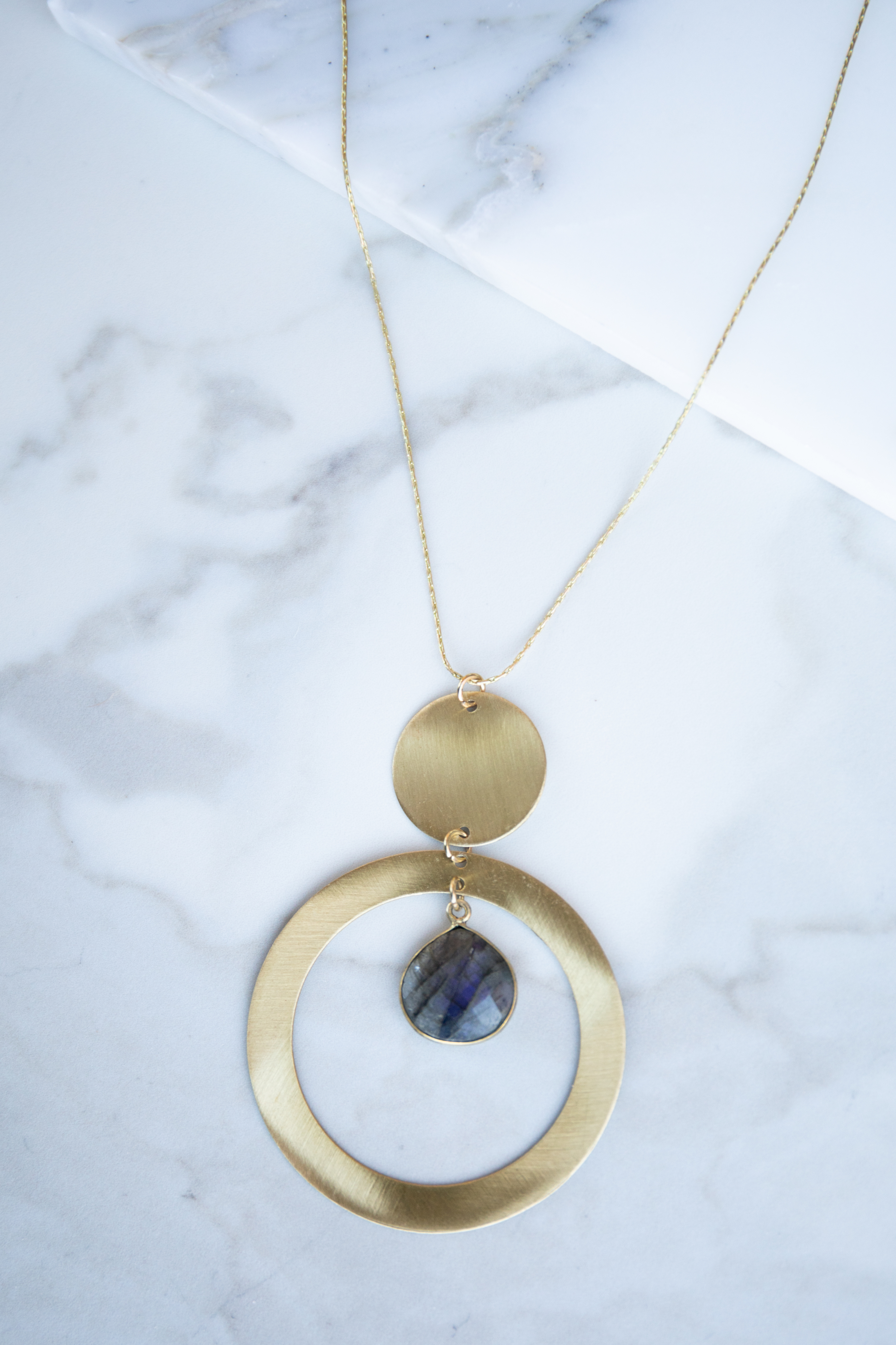Brushed Gold Necklace with Circle Hoop and Stone Pendants