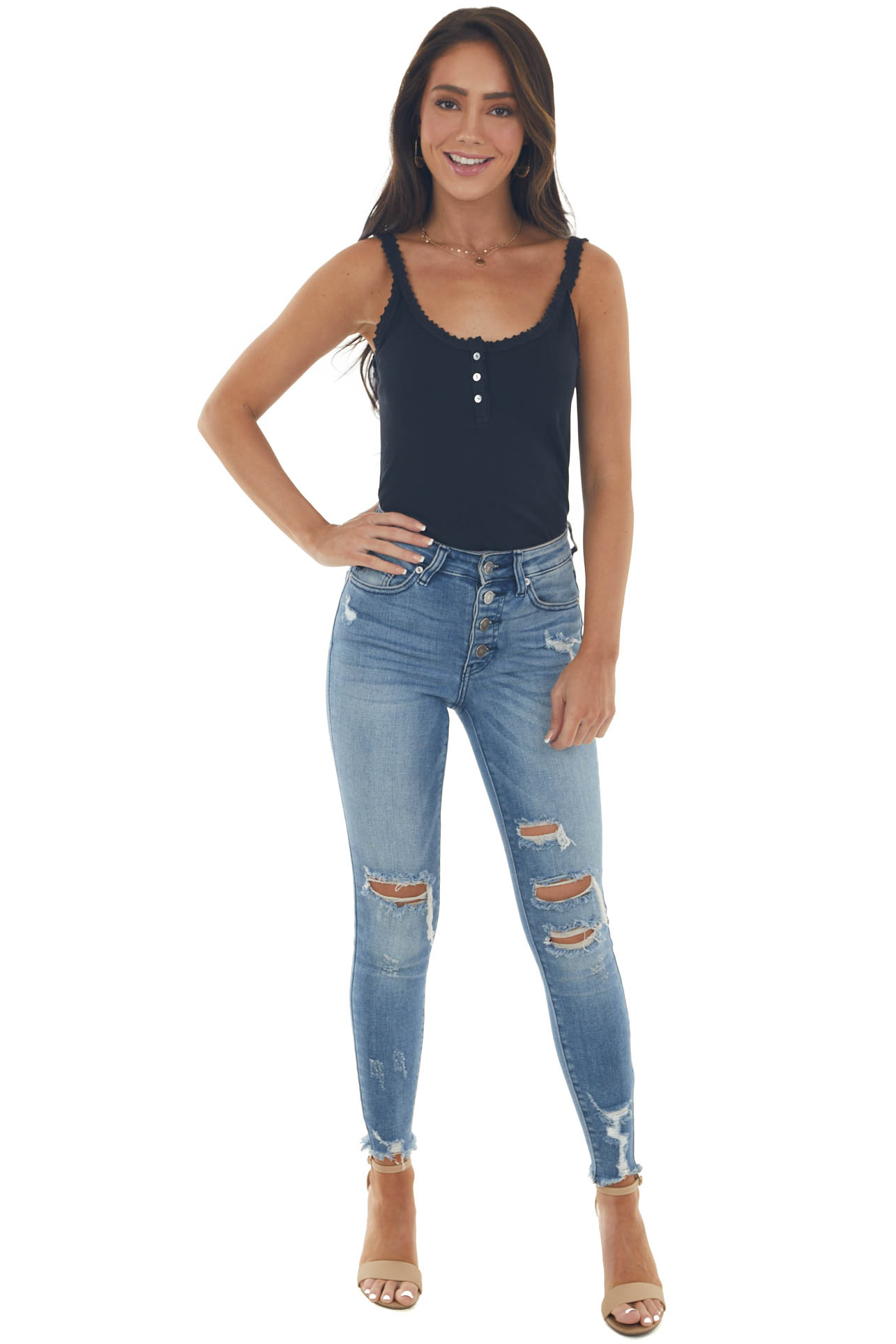 Black Ribbed Knit Tank Top with Button and Lace Trim Details