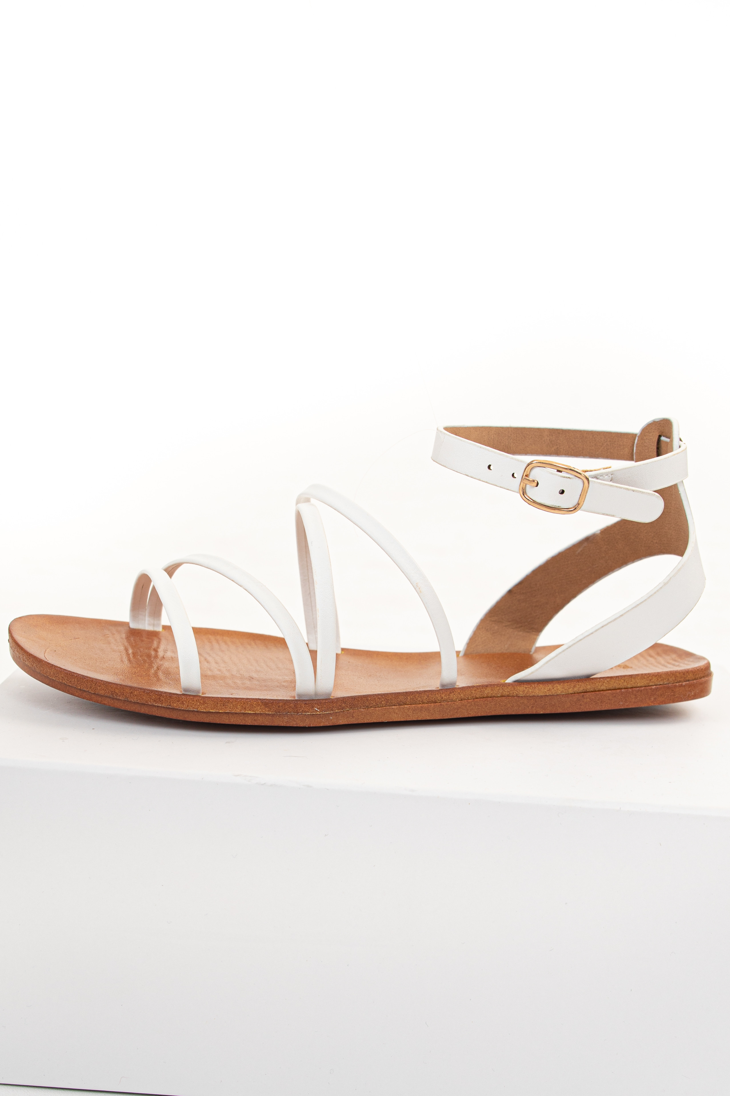White Faux Leather Strappy Sandal with Buckle Closure