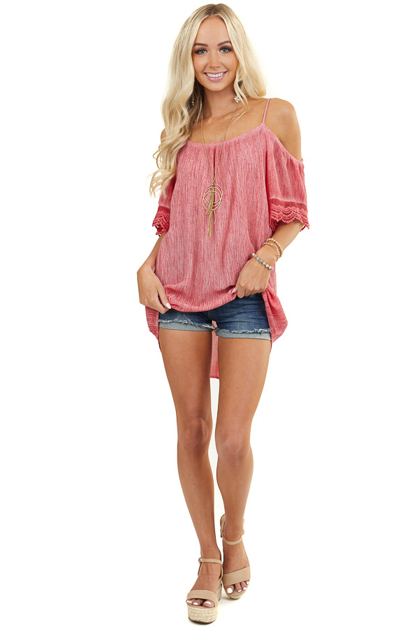 Ruby Red Two Tone Textured Off Shoulder Top with Lace Detail