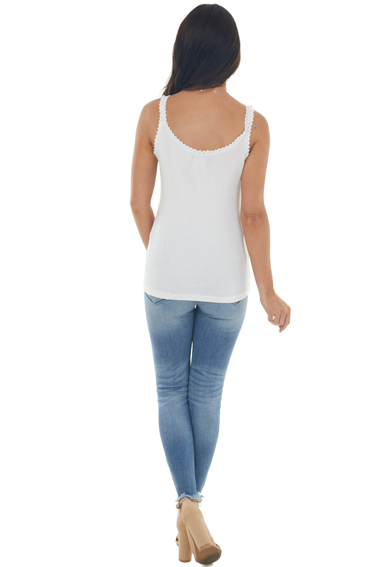 White Ribbed Knit Tank Top with Button and Lace Trim Details