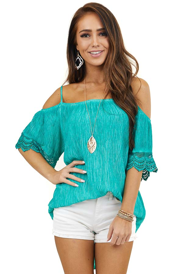 Aqua Two Tone Textured Off Shoulder Top with Lace Detail