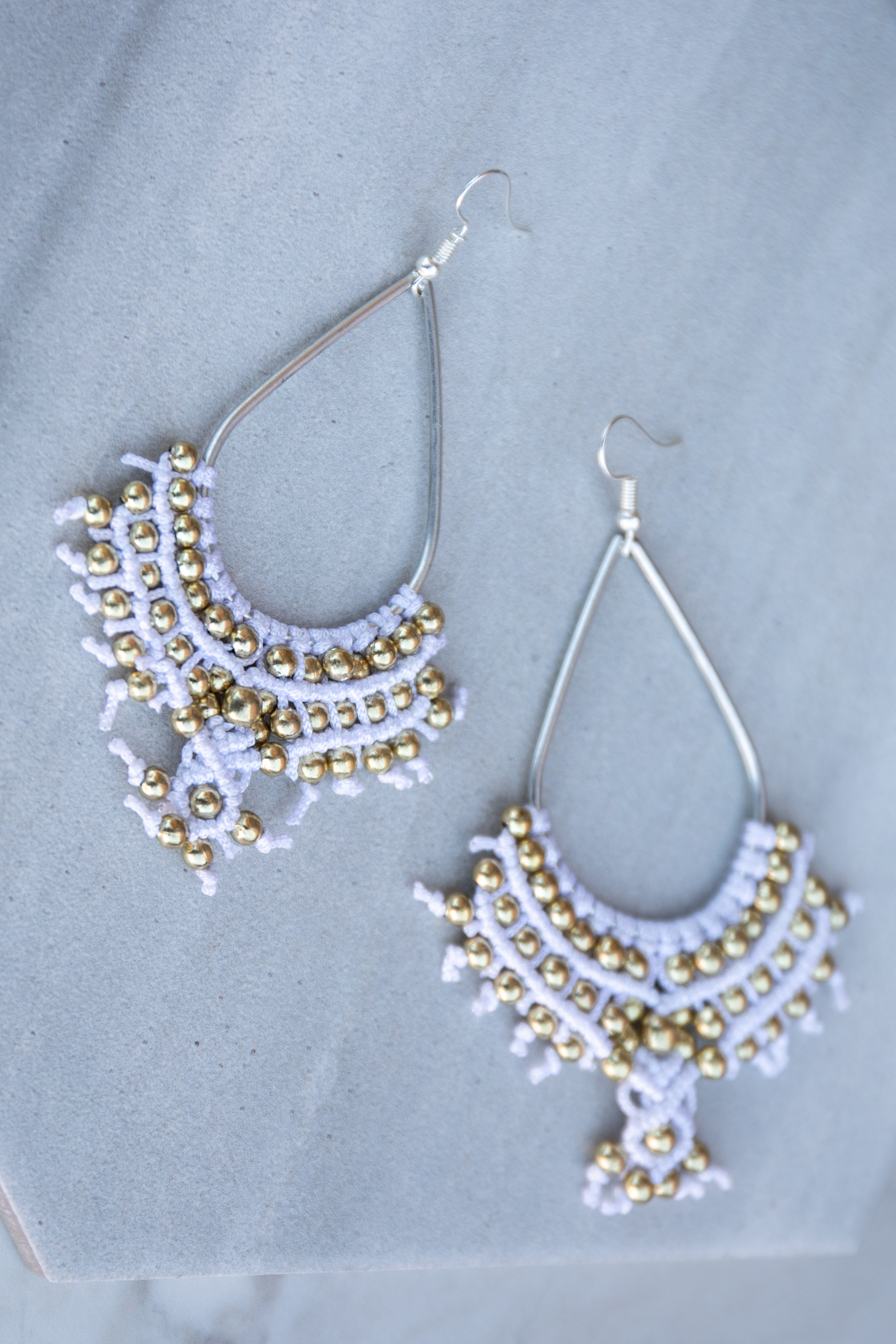 Silver Teardrop Earrings with White Woven Detail and Beads