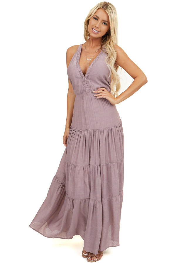 Dusty Rose Tiered V Neck Dress with Criss Cross Straps