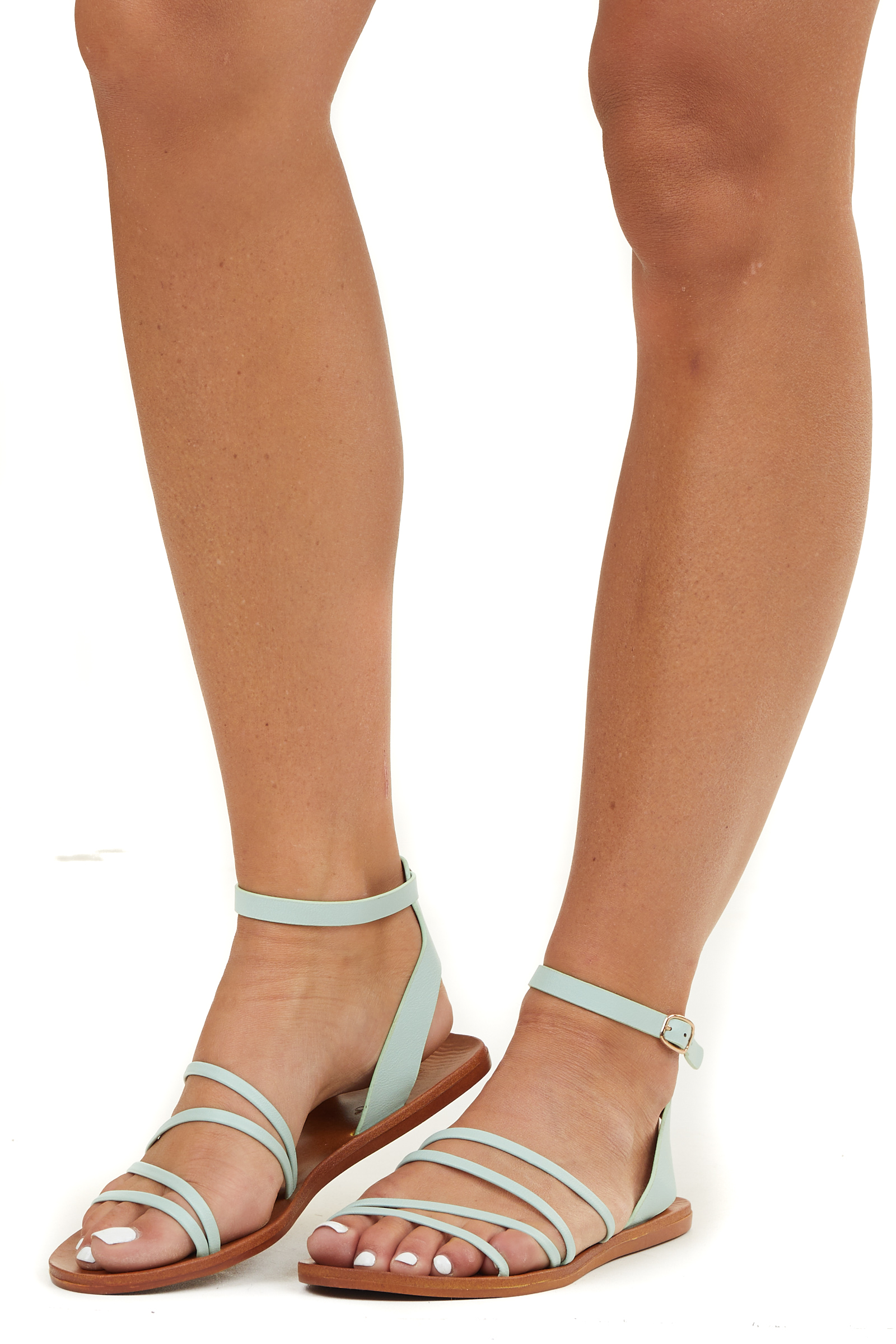 Mint Faux Leather Strappy Sandal with Buckle Closure