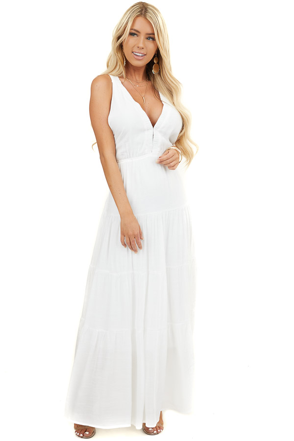Off White Tiered V Neck Dress with Criss Cross Straps