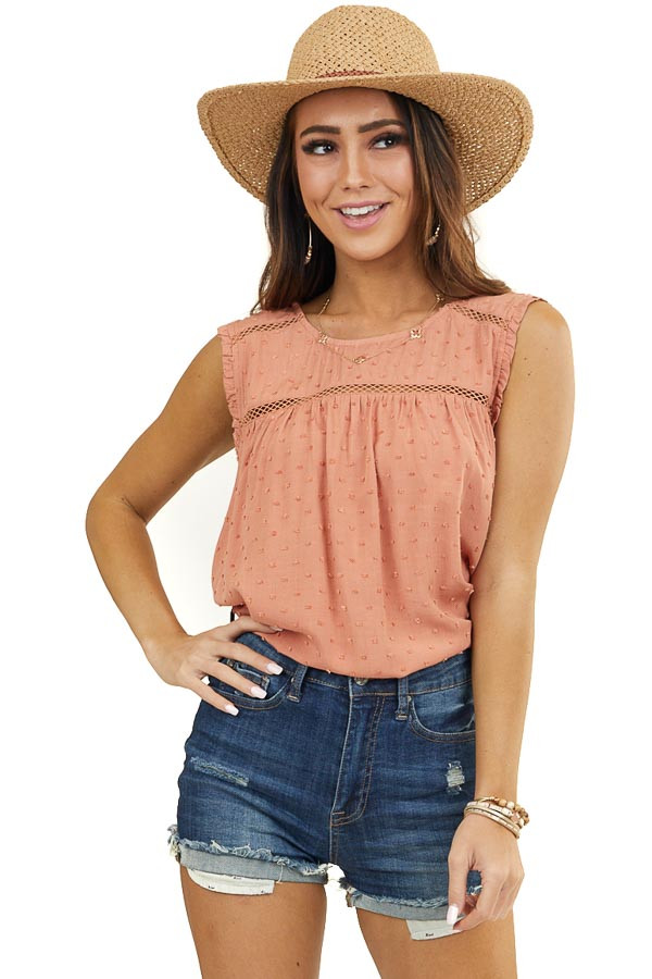 Terracotta Swiss Dot Woven Tank Top with Sheer Lace Detail