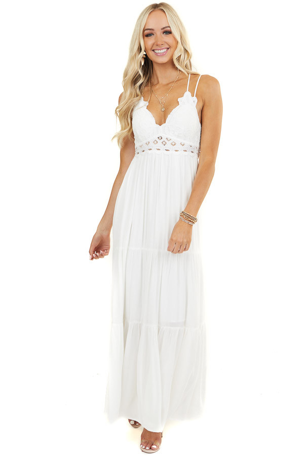 Off White Sleeveless Dress with Lace Bust and Waist