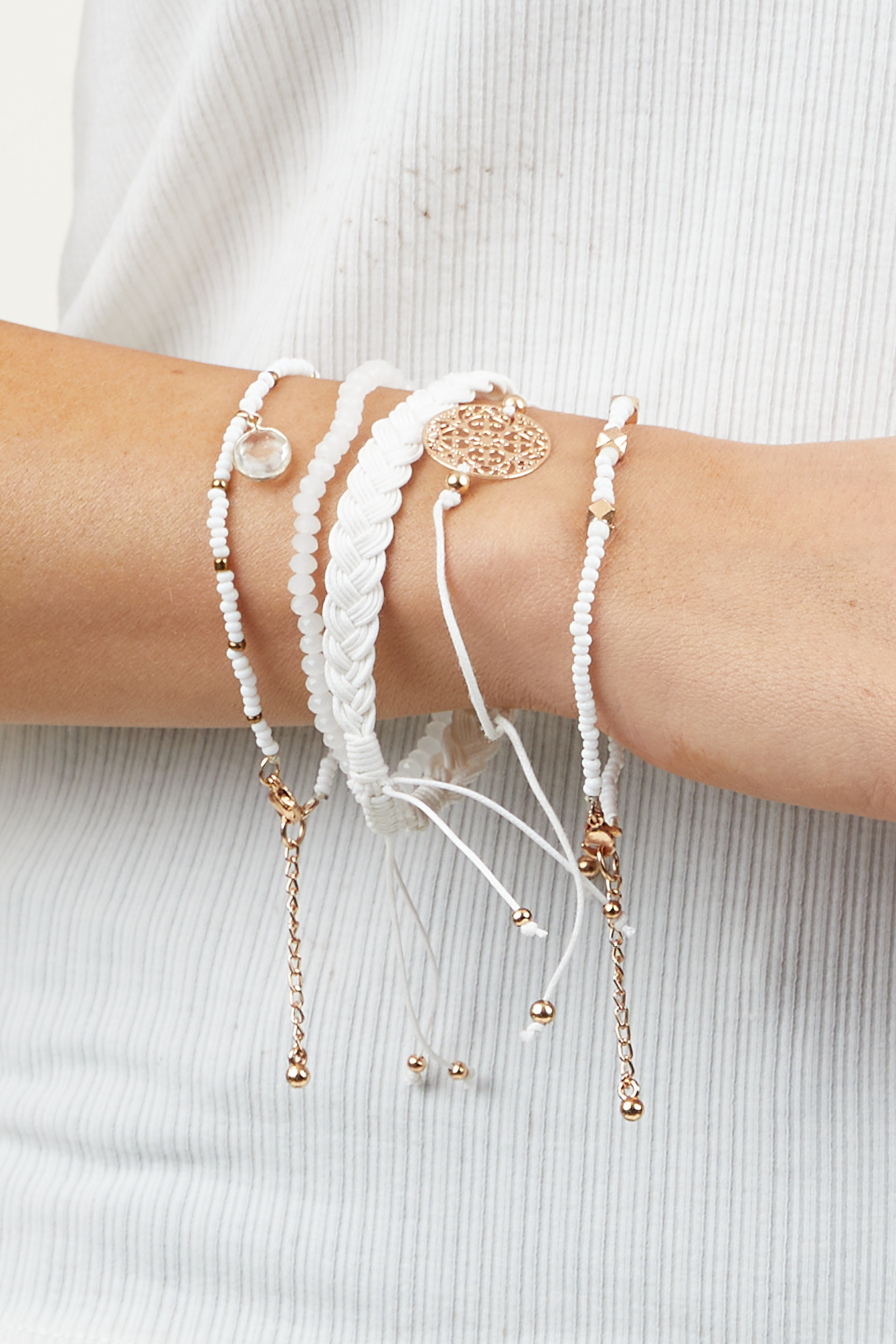 White and Gold Bead and Braided Bracelet Set with Charms