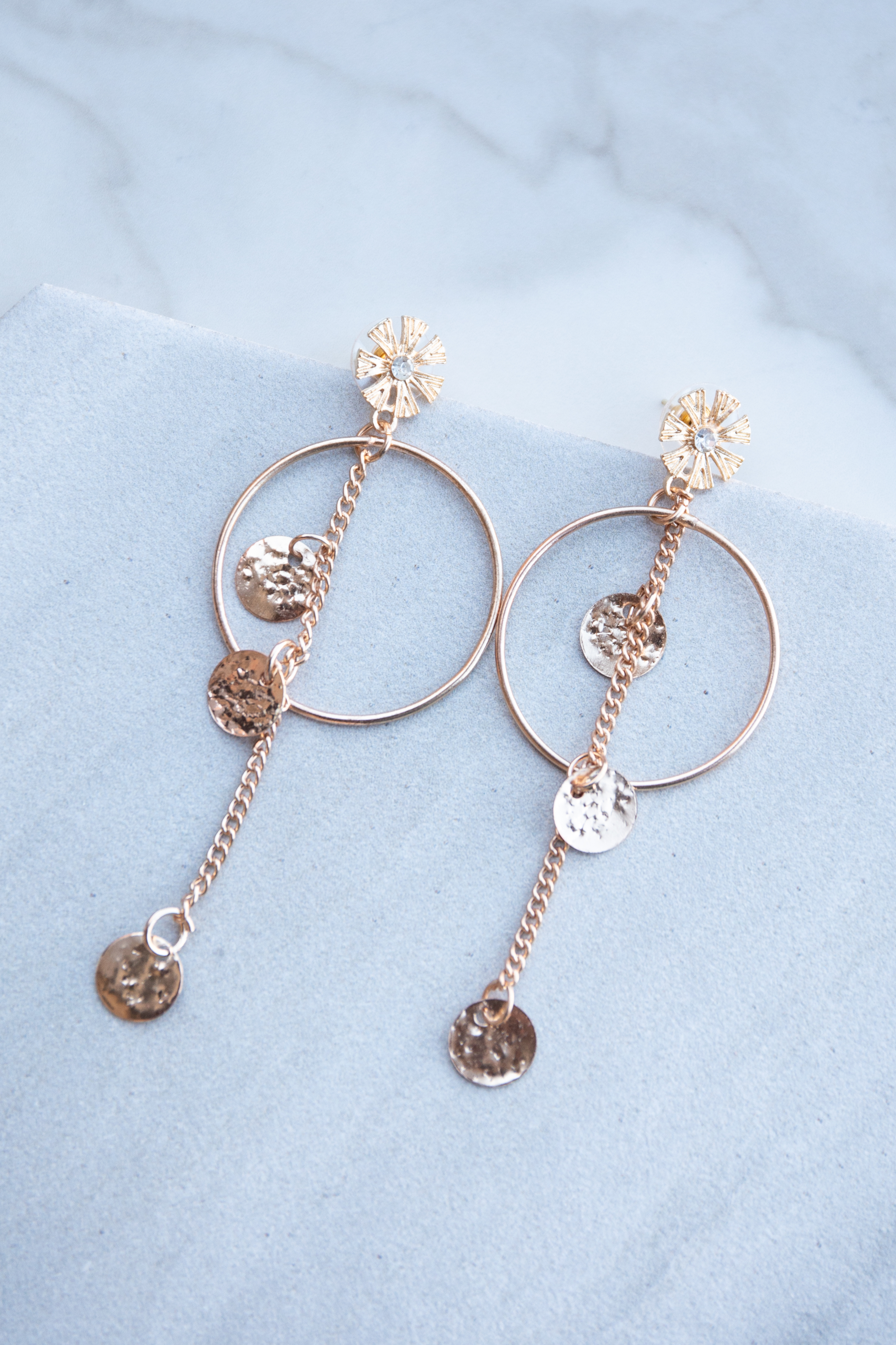 Rose Gold Hoop Earrings with Flower Stud and Coin Pendants