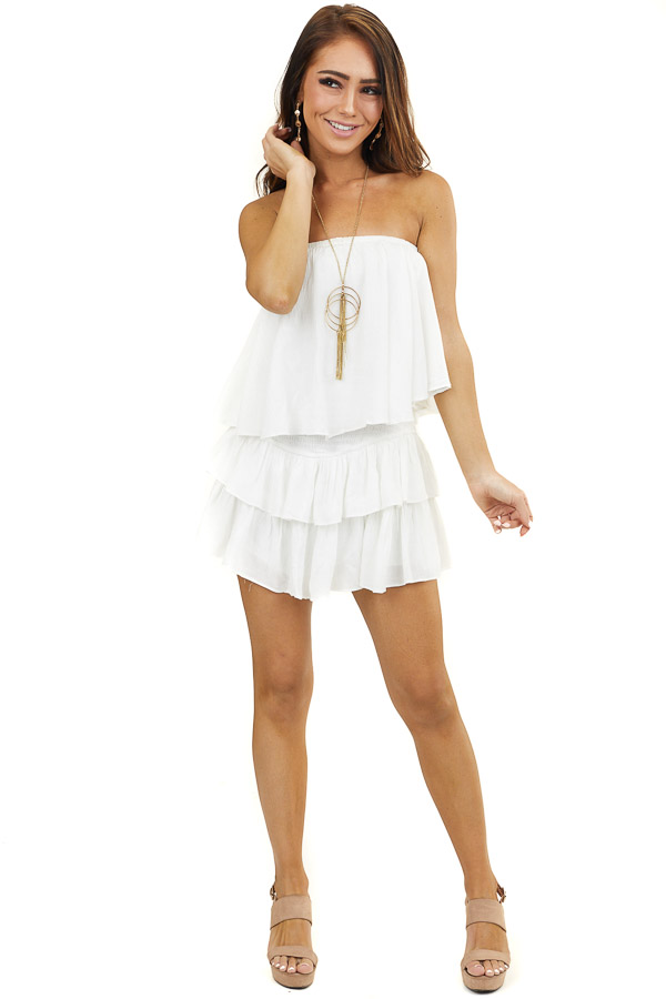 Off White Strapless Woven Ruffle Romper with Smocked Detail