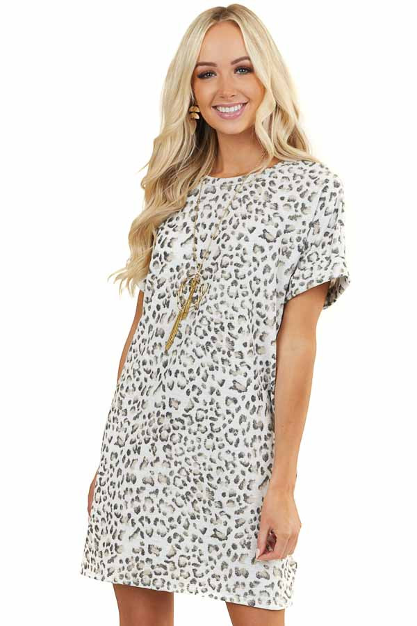 Heather Grey Leopard Print Dress with Side Pockets