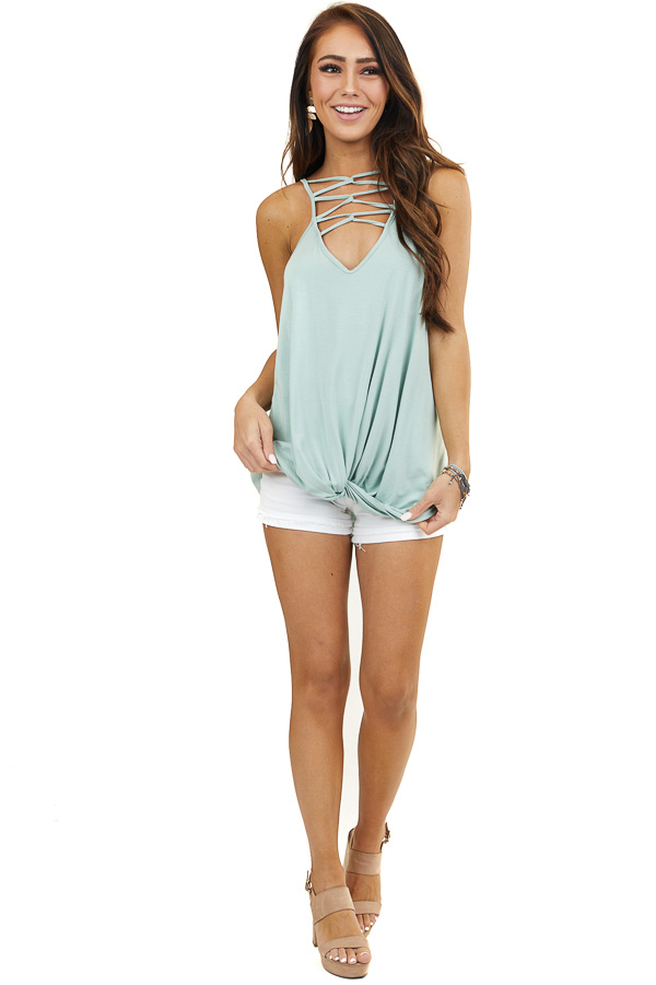 Sage Tank Top with Front Cage Detail and Twisted Hemline
