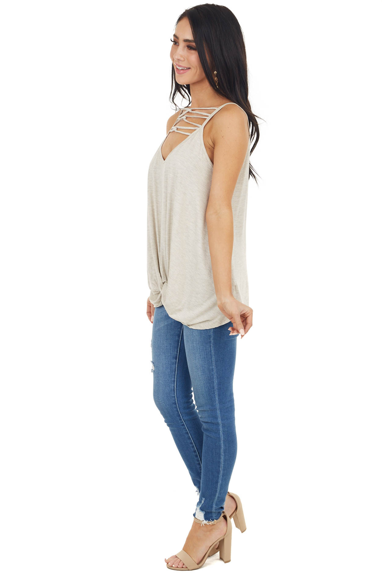 Oatmeal Tank Top with Front Cage Detail and Twisted Hemline