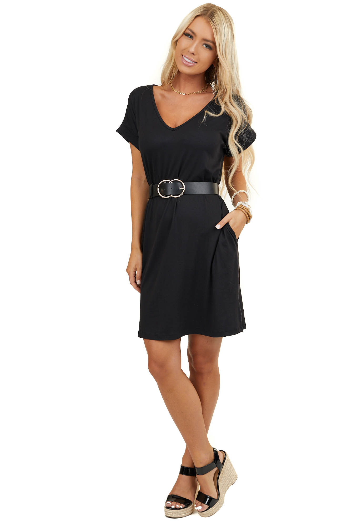 Black Super Soft Short Sleeve V Neck Mini Dress